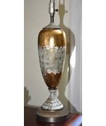 VINTAGE TABLE LAMP GLASS GOLD GILT 1930-40's ERA HAND PAINTED ART DECO W... - $129.99