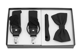 Berlioni Italy Formal Tuxedo Bow Tie Convertible Suspenders Hanky Gift Box Set image 8