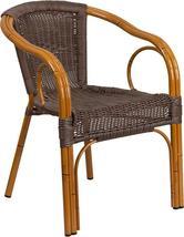 Cadiz Series Dark Brown Rattan Restaurant Patio Chair with Red Bamboo-Al... - $105.99