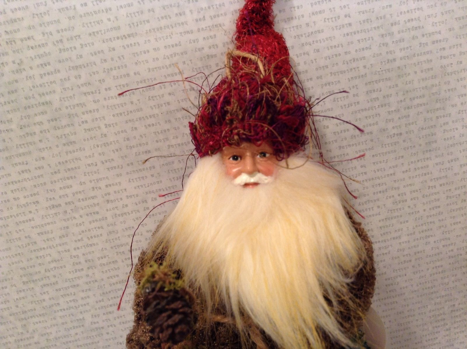 Charming detailed Santa woodland elf w basket staff ornament posable