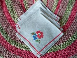 Vintage floral linen napkins1 thumb200