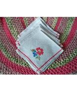 SALE! Vintage 1940s - 1950s Floral Linen Napkins Pride Of Flanders  - $14.99