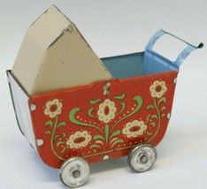 German 1950's Tin Lithographed Baby Carriage Buggy, moveable top - $55.00