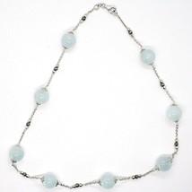 925 Silber Halskette, Aquamarin Kugel, Pyrit Facettiert, Kette Rolo image 2