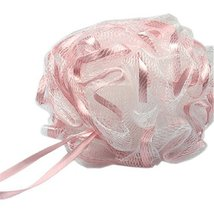 Body Scrubber Bath Ball Exfoliating Bath Soft Ribbon Mesh Bathing Sponge(Pink)
