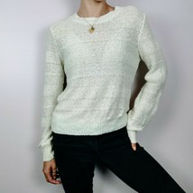 Vintage White Knit Sweater Small Womens Clothing Top Shirt Knitwear - $34.68