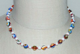 VTG Sterling Silver Red Multi-Color MILLEFIORE Glass Bead Beaded Choker ... - $123.75
