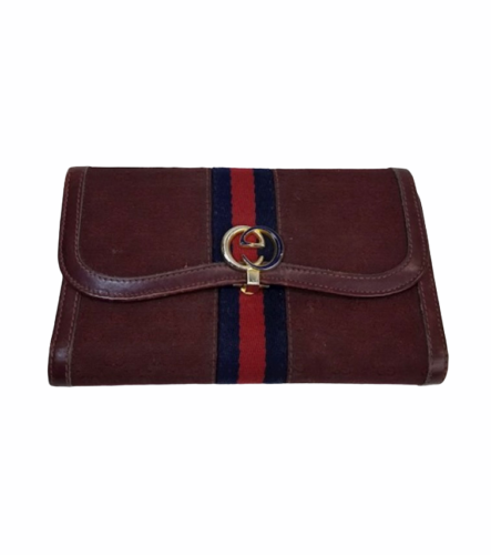 Vtg GUCCI Burgundy Canvas Leather GG Monogram Wallet Clutch Made in Italy