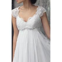 Designer Chiffon Wedding Dress High Waist Maternity Wedding Gown image 5