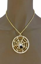 Spinne Auf Spinnennetz Medaillon Mit Strass Gold Ton Anhänger Halskette Ohrringe - $13.45