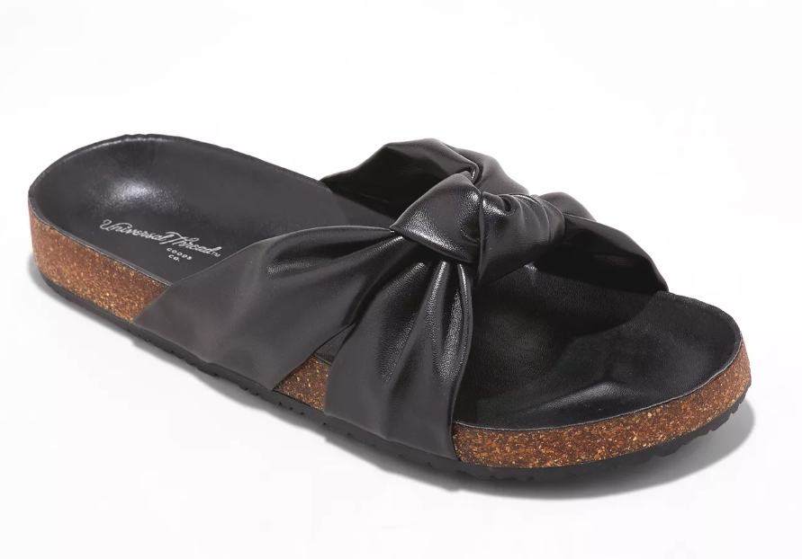 Universal Thread Womens Junie Black Vegan Faux Leather Knotted Slide Sandals NWT