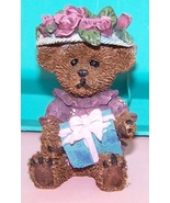 Bear  Gift Box With Flowered Hat Collectable - $10.00