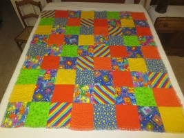 """HAND CRAFTED JUVENILE ANIMAL Rag FLANNEL QUILT THROW - 48"""" x 54"""" - 72 Bl... - $29.70"""