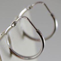 18K WHITE GOLD EARRINGS LITTLE CIRCLE HOOP 18 MM 0.71 IN DIAMETER MADE IN ITALY image 2