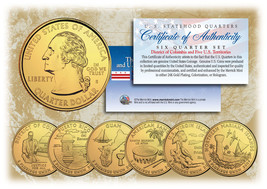 2009 DC US TERRITORIES Quarters 24K GOLD PLATED 6-Coin Set STATEHOOD w/C... - $10.84