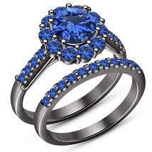 Round Blue Sapphire Black Gold Fn Engagement Bridal Ladies Ring Set 925 ... - $93.99