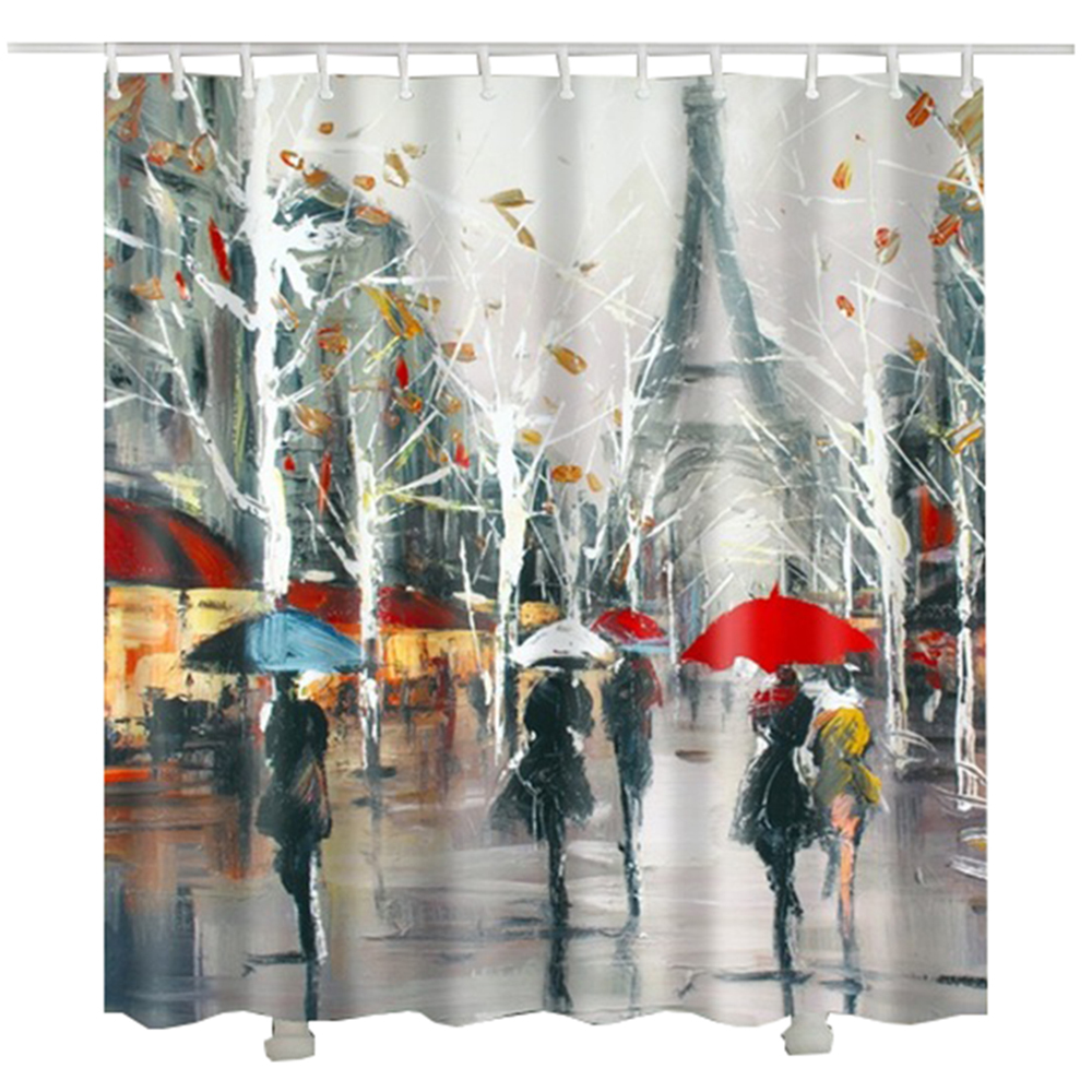 N painting paris shower curtain trees leaf printed raining tower umbrella women bathroom curtain