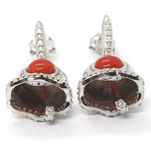 Silver Earrings 925, Little Bell, Bell with Zircon, Coral, Hanging image 6