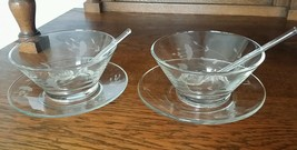 PAIR Vintage Etched Salsa Mayo Relish Olive Bowls w/matched glass spoons - $39.60