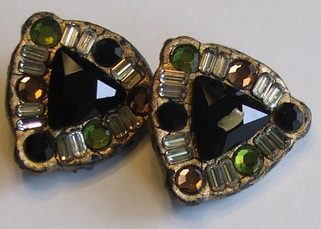 Multicolored beaded triangle earrings