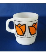 Anchor Hocking Fire King Orange Tulips Coffee Mug - $11.00
