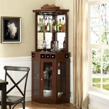 Mahogany Wooden Corner Dry Bar Storage Server Wine Rack Liquor Cabinet C... - $389.96