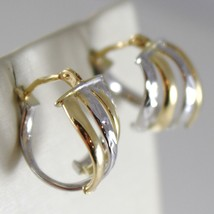 White Gold Earrings 18k 750 Yellow Circle, alternating Wave, processed, Italy image 2