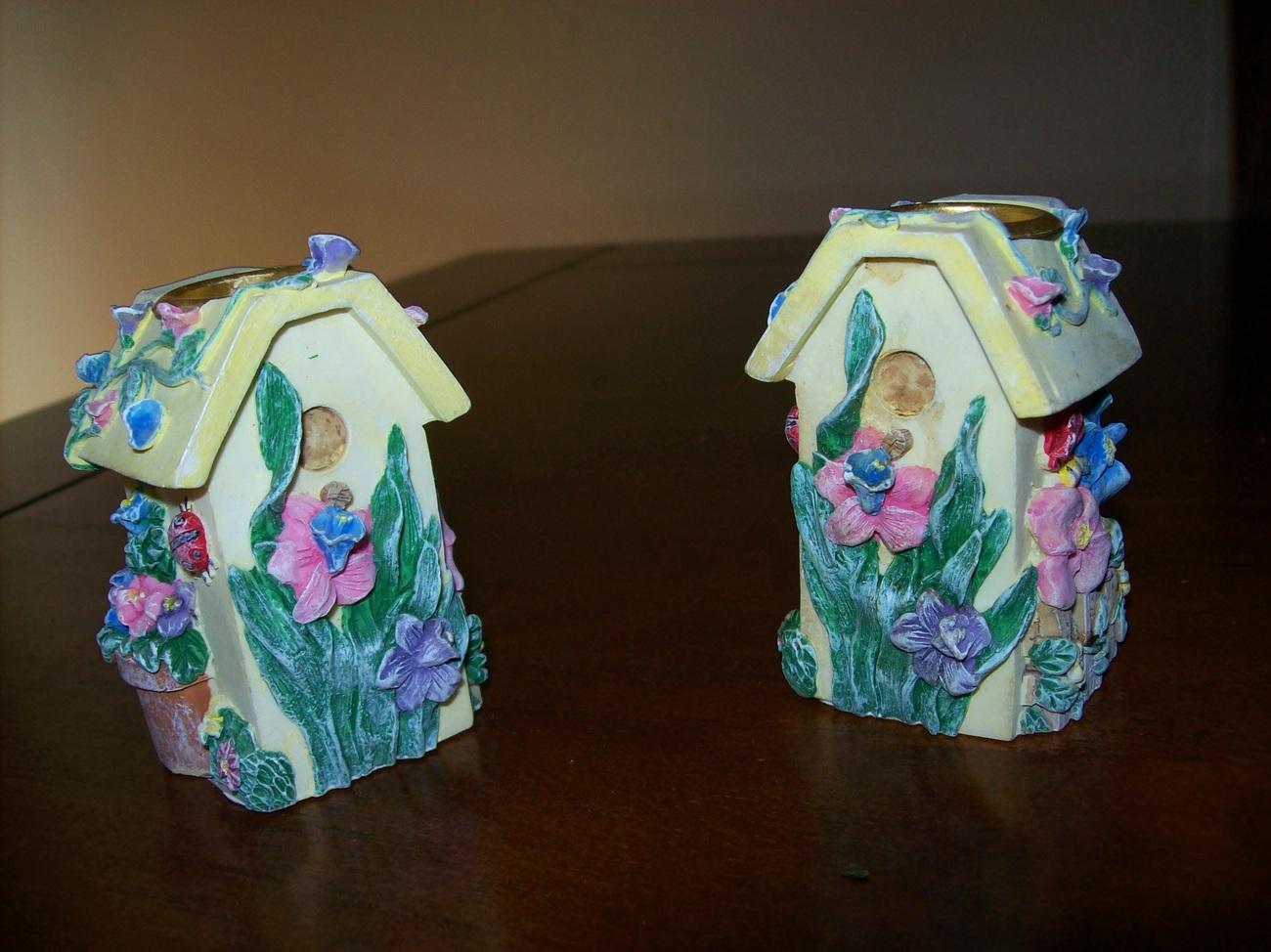 set of 2 birdhouse springtime candlestick holders