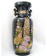 Tall Ceramic Japanese Vase with Peacocks and Pink Peonies - $10.00