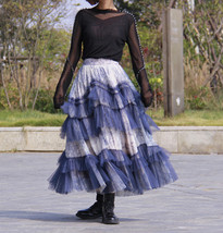 Gray Tiered Tulle Skirt Outfit High Waisted Full Plus Size Layered Tulle Skirts  image 10
