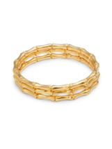 Kenneth Jay Lane 3 piece bamboo style bangle slip on bracelet   Retail $155 - $98.01