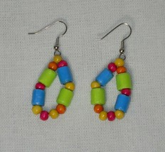 Handcrafted Colorful Green Yellow Pink Orange Blue Paper and Hoop Earrings - $6.00