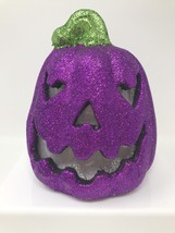 "Jack O Lantern Pumpkin LED Sound Activated Glitter Purple 8"" Home Decor - $9.79"