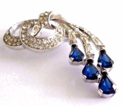 Vintage Signed Boucher Pin #2839 set with Clear and Blue Sapphire Crysta... - $135.00