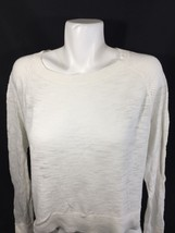Mossimo Women White Blouse Long Sleeve Scoop Neck Stretch Thin  Size L - $15.88