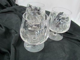 Lot of 3 Unbranded Crystal Stout Brandy Clear Cut Glass Floral Eight Poi... - $75.99