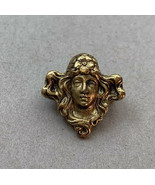 Art Nouveau Style Small Dainty Brooch Pin Gold Tone Lady Flower Vintage - $29.41