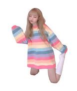 Kawaii Clothing Long Sleeved T-Shirt Rainbow Pastel Goth Harajuku Ulzzang Pink - $18.95