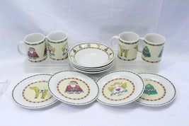 Retroneu Country Xmas Salad Plates Soup Bowls Mugs Lot of 12 - $48.99
