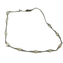 SP Faux Pearl Aurora Borealis Clear Beaded Chain Necklace K175 - $16.14