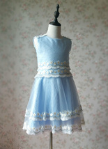 Light-blue Lace Tutu High Waist Dress Blue Flower Girl Dress Birthday Dress NWT image 6