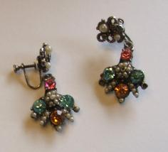 Vintage Gold, Tiny Pearls and Colored Rhinestone Screw Earri - $1.99