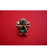 Green Rhinestone Angel Religious Souvenir Hat Lapel Pin - $5.99