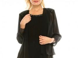 SLNY Black Chiffon Beaded Sheer Special Occasion Poncho Shrug Size 10 NEW - $18.81