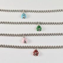 Bracelet en Argent 925 Jack&co avec des Boules Brillant et Coccinelle Ém... - $79.16