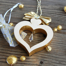 Handmade Wooden Alpine Heart Gold, Valentine's Day Gift for Women, Mother's Day  - $21.95+