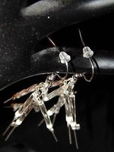 NEW HAND MADE SILVER STICKS PIERCED EARRINGS-STERLING SILVER, WHITE, CLEAR BEADS image 3