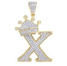'X' Letter Alphabet King Crown Pendant Diamond 18k Yellow Gold Plated 92... - £117.39 GBP