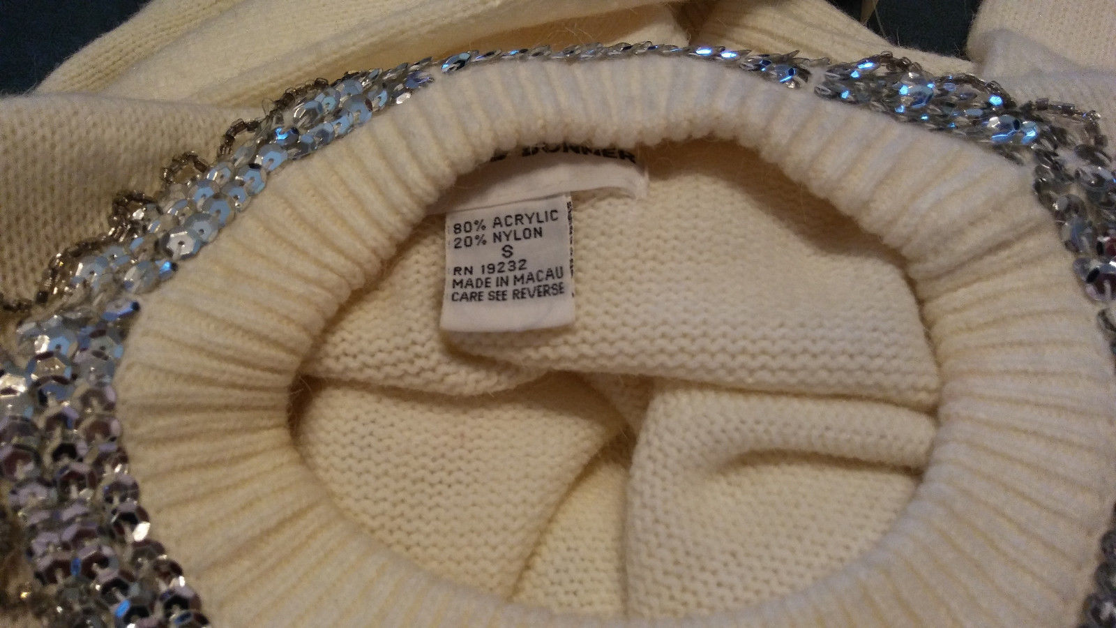 Alfred Dunner-  Size  SMALL-   Ivory Emblished  sweater   New with tags