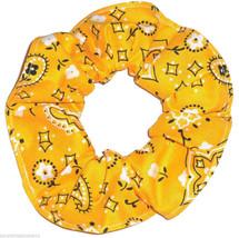 Gold Bandana Hair Scrunchie Scrunchies by Sherry Ponytail Holder Cotton - $6.99